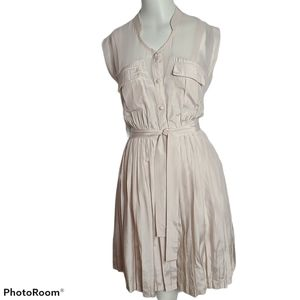 Anthropologie sleeveless lined dress with pleats